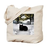 BLACK CAT WINTER SUNSET Tote Bag