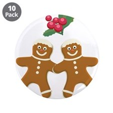 "Gingerbread Men 3.5"" Button (10 pack)"