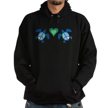 Peace Heart Sea Turtles Hoodie (dark)