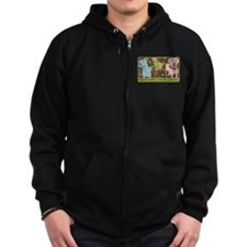 Vintage Pop Art Zip Hoodie (dark)