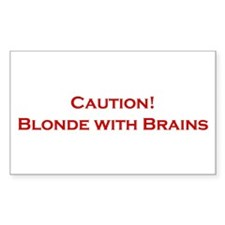 Blonde With Brains Rectangle Decal