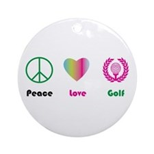 Peace, Love, Golf - Ornament (Round)