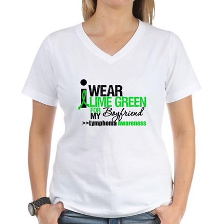 I Wear Lime Green Boyfriend Women's V-Neck T-Shirt