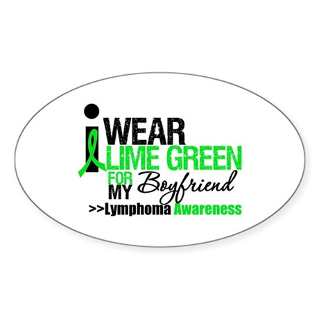 I Wear Lime Green Boyfriend Oval Sticker (10 pk)