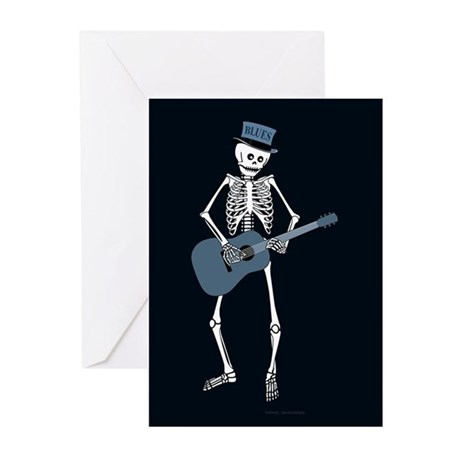 Bluesman Skeleton Greeting Cards (Pk of 10)