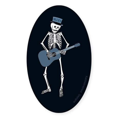 Bluesman Skeleton Oval Sticker (10 pk)