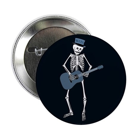 "Bluesman Skeleton 2.25"" Button (10 pack)"