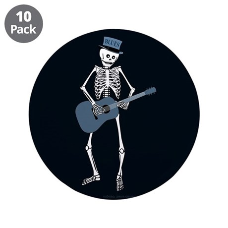 "Bluesman Skeleton 3.5"" Button (10 pack)"