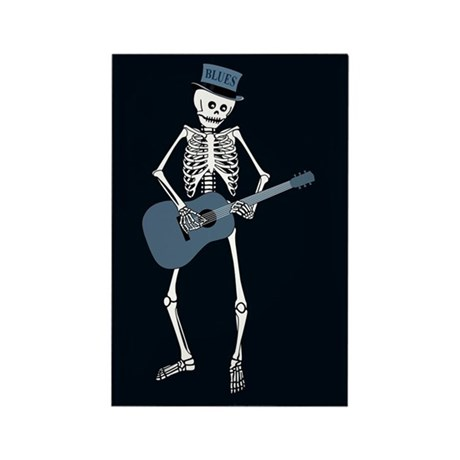 Bluesman Skeleton Rectangle Magnet (10 pack)
