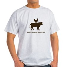 Brown Chicken N Cow W/Txt T-Shirt