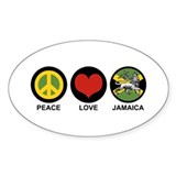 Peace Love Jamaica Oval Decal