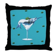 Teal Marlin Martini Throw Pillow