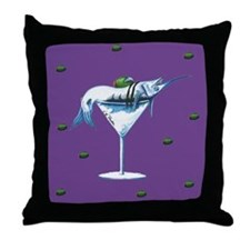 Purple Marlin Martini Throw Pillow