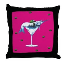 Hot pink marlin martini Throw Pillow