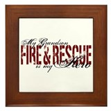 Grandson My Hero - Fire & Rescue Framed Tile