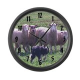 Border Collie Herding Large Wall Clock