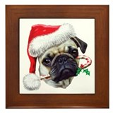 Pug Christmas Framed Tile