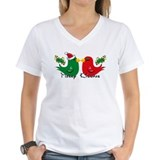 Merry christmas bird Womens V-Neck T-shirts
