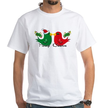 Lovebirds Merry Kissmas White T-Shirt