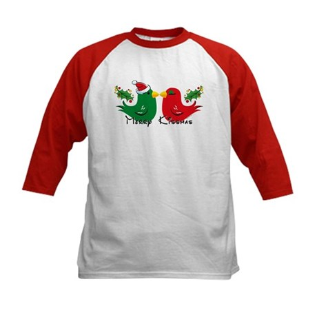 Lovebirds Merry Kissmas Kids Baseball Jersey