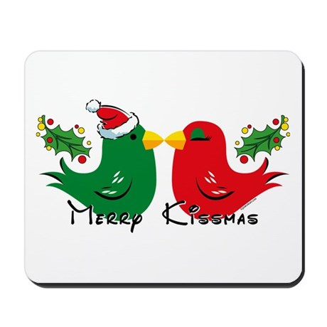 Lovebirds Merry Kissmas Mousepad