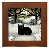 BLACK CAT WINTER SUNSET Framed Tile