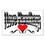 I Love Handbags Rectangle Sticker 50 pk)