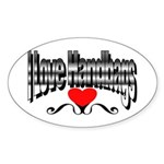 I Love Handbags Oval Sticker (50 pk)