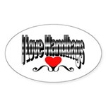 I Love Handbags Oval Sticker (10 pk)