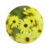 Abstract Yellow Flowers Ornament (Round)