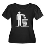 Save The Planet Women's Plus Size Scoop Neck Dark