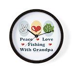 Peace Love Fishing With Grandpa Wall Clock