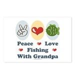 Peace Love Fishing With Grandpa Postcards 8 Pack