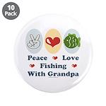 "Peace Love Fishing With Grandpa 3.5"" Button 1"