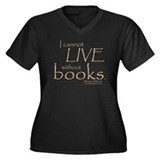Without Books Women's Plus Size V-Neck Dark T-Shir