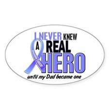 Never Knew A Hero 2 LT BLUE (Dad) Oval Decal
