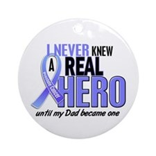 Never Knew A Hero 2 LT BLUE (Dad) Ornament (Round)