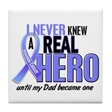 Never Knew A Hero 2 LT BLUE (Dad) Tile Coaster