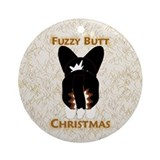 Black Cardi Fuzzy Butt Christmas Round Ornament