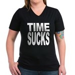 Time Sucks Women's V-Neck Dark T-Shirt