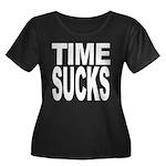 Time Sucks Women's Plus Size Scoop Neck Dark T-Shi