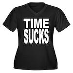Time Sucks Women's Plus Size V-Neck Dark T-Shirt