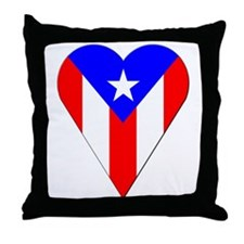 Puerto Rico Heart-Shaped Flag Throw Pillow