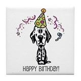 Dalmatian Happy Birthday Tile Coaster