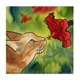 Hibiscus Cat Tile Coaster