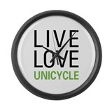 Live Love Unicycle Large Wall Clock