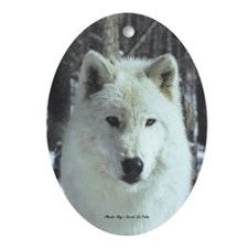 Solo White Wolf Oval Ornament