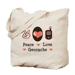 Peace Love Geocache Geocaching Tote Bag