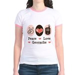 Peace Love Geocache Geocaching Jr. Ringer T-Shirt