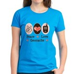 Peace Love Geocache Women's Dark T-Shirt